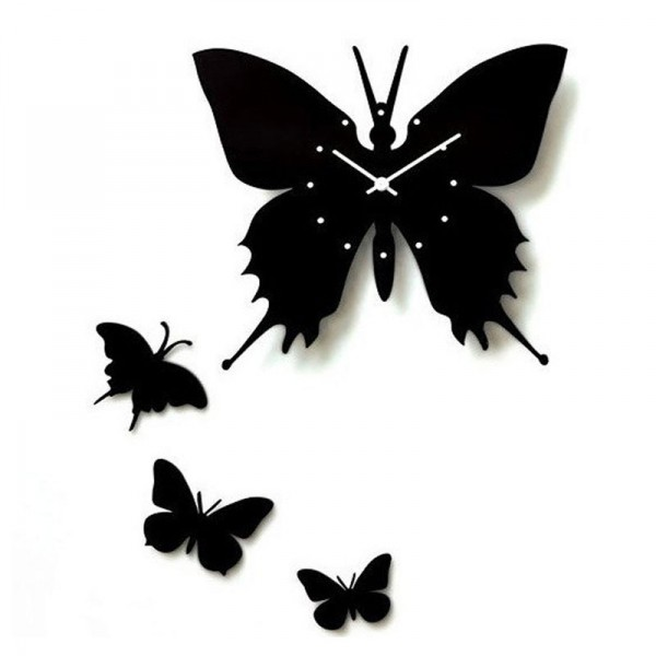 Art Butterfly Design Wooden Wall Clock For Home Decor