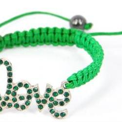 Handmade Friendship Bracelet Embellished with Love Badge-green