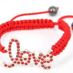 Handmade Friendship Bracelet Embellished with Love Badge-red